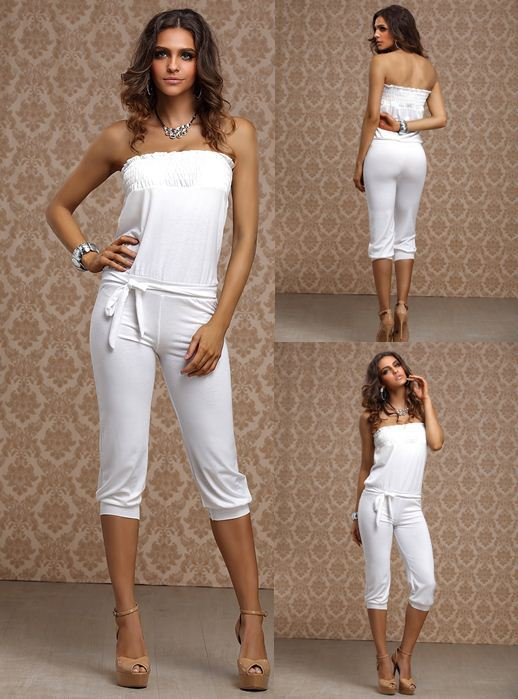 Sexy Strapless Jumpsuit Womens Casual Jumper 3-4 Pants Romper _Top ...