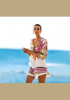42d8d16e84a58 Beach Caftan Swimsuit Cover up Print Chiffon Pareo Women Robe Plage  Swimwear Dress Sexy Sarong Beach