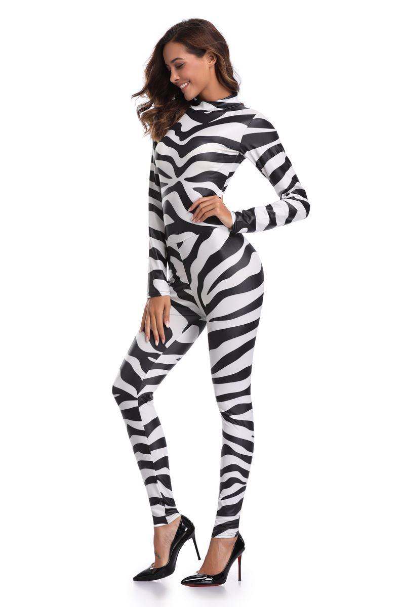 3368a82d6c ... Sexy Halloween zebra cowgirl Print Catsuit Party Fancy Dress Jumpsuit  playsuit ...