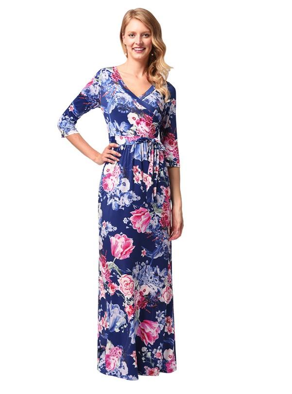 a3a40a872 Women's Floral Print Long Dress Short Sleeve Empire Flower Maxi Dresses ...