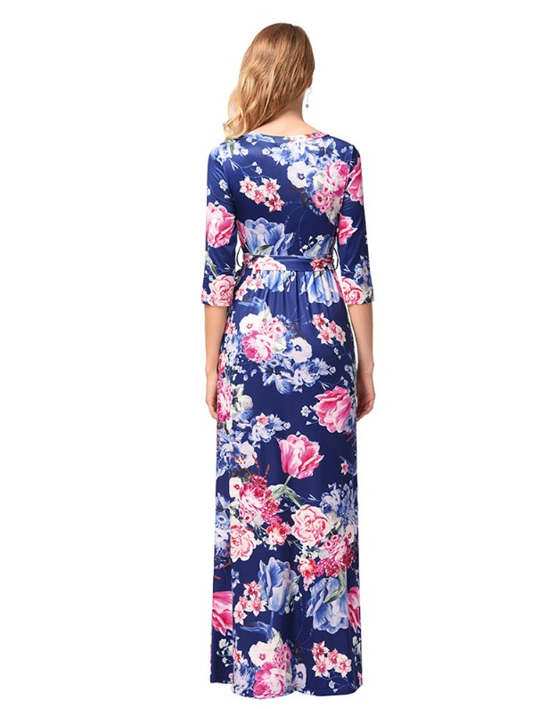 dc28c13ed ... Women's Floral Print Long Dress Short Sleeve Empire Flower Maxi Dresses  ...
