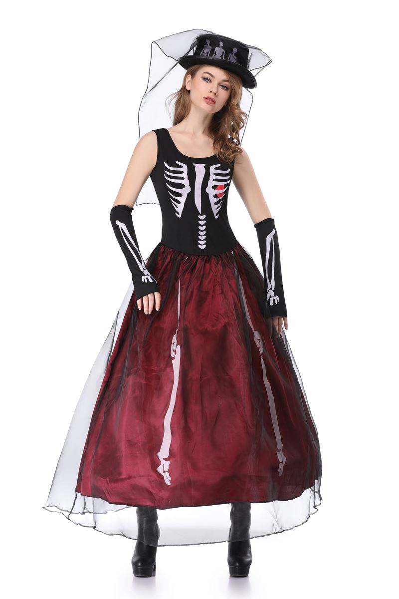 bb06f7168a4 Ghost Bride Series Cosplay Costumes Scary Skull Vampire Queen Long Dress  Zombie Witch Fancy Dress for ...