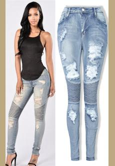 c615fcf0409 Women Slim Denim Straight Biker Skinny Ripped Jeans Ladies Stretch Ripped  Sexy Skinny Jeans Womens High